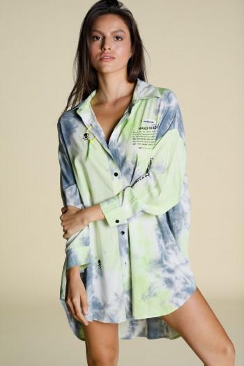 חולצת טוניקה מכופתרת בגווני טאי דאי תכלת וירוק HANDMADE