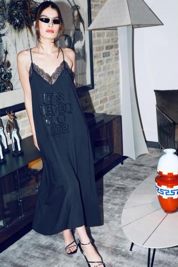 שמלת ערב מקסי שחורה שילוב תחרה LATE
