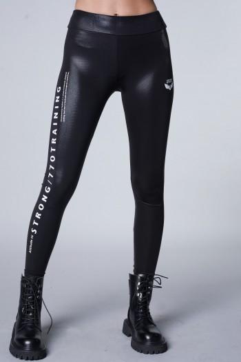 טייטס לייקרה מבריק שחור STRONG