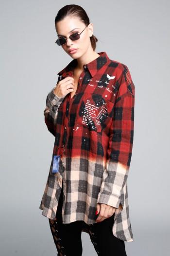 חולצת פלנל מכופתרת משבצות אדום ובז' BRKLYN