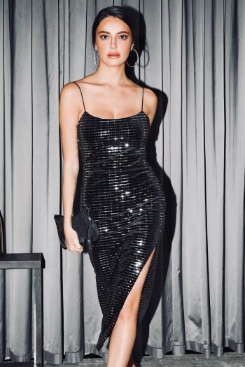 שמלת ערב שחורה מקטיפה שילוב פייטים כסופים DIAMOND