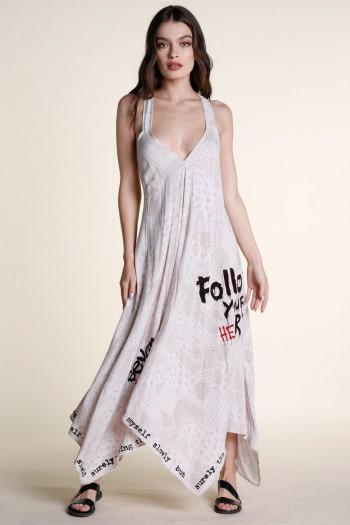 שמלת מקסי בנדנה בגווני בז' ולבן ART