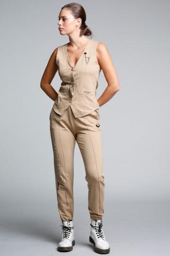חליפת פוטר וסט ומכנסי ג'וגר בגוון חום SEVEN