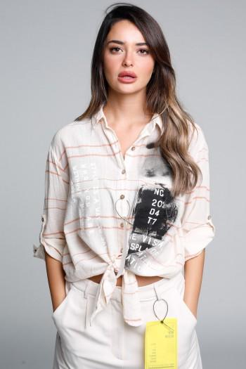 חולצת משבצות קשירה ארוכה מכופתרת בז' כתום NC