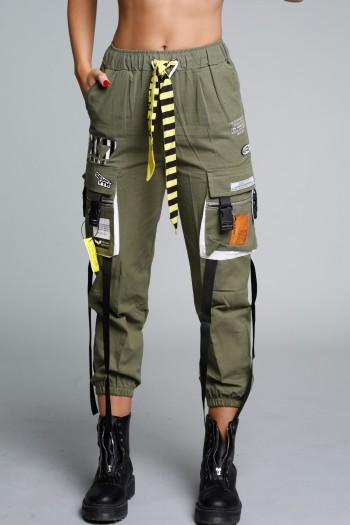 """מכנסיים מעוצבים בגזרת דגמ""""ח בצבע זית SEVENTY"""