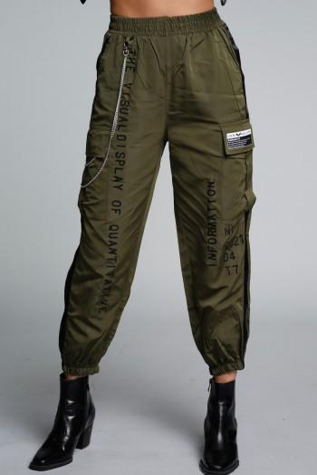 מכנסי ג'וגר ניילון בגוון ירוק זית INFORMATION