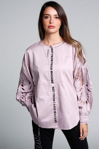 חולצה סגולה מעוצבת שרוול תחרה ארוך PARIS