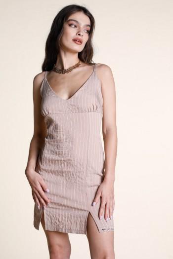 שמלת מיני בז' עם פסים בגזרת גופיה COMFY