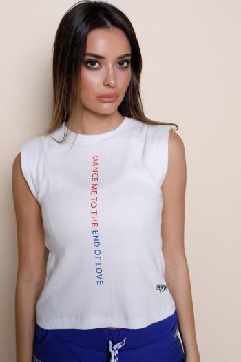 חולצת T לבנה ללא שרוול DANCE