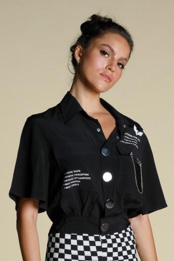 חולצת מכופתרת  שחורה שרוול מידי TASTE