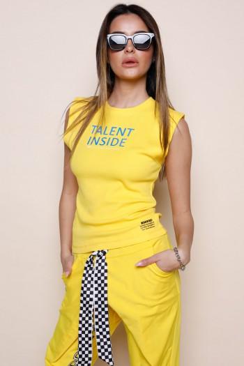 חולצת T צהובה ללא שרוול TALENT