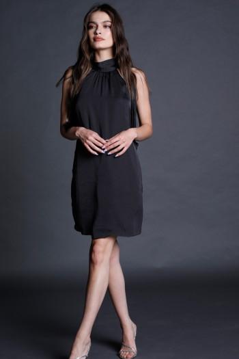 שמלת ערב מיני צווארון קולר שחורה CHIC
