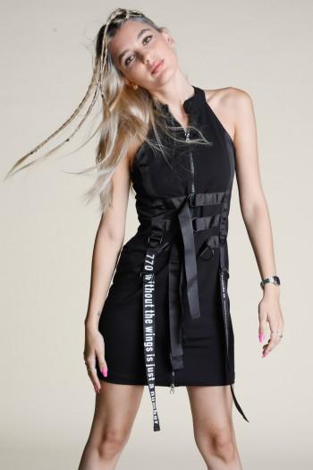 שמלת מיני שחורה רוכסן משולבת רצועות WINGS