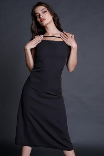 שמלת מידי שחורה רצועה STYLE