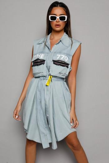 שמלת ג'ינס מידי מכופתרת THE 770