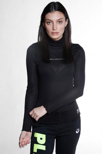 חולצת בייסיק ארוכה שחורה בשקיפות קלה WARNING