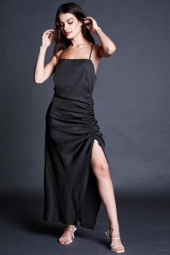 שמלת מקסי שחורה כיווץ NIGHT