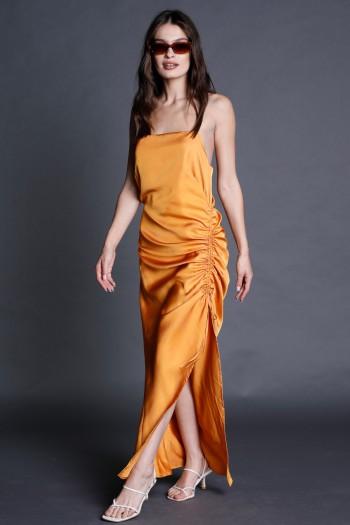 שמלת מקסי כתומה כיווץ NIGHT