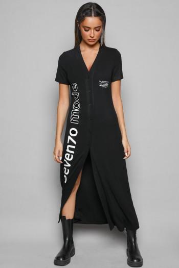 שמלת כותנה מכופתרת שחורה MODE