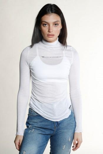 חולצת בייסיק ארוכה לבנה בשקיפות קלה WARNING