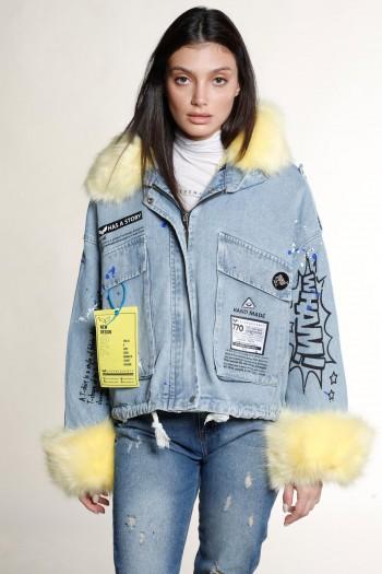 ג'קט ג'ינס משולב דמוי פרווה צהובה HAND MADE