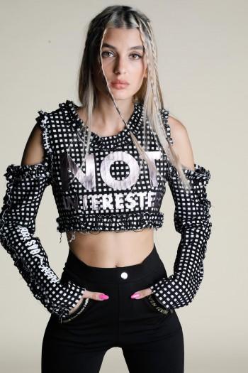 חולצת בטן ארוגה משובצת NOT