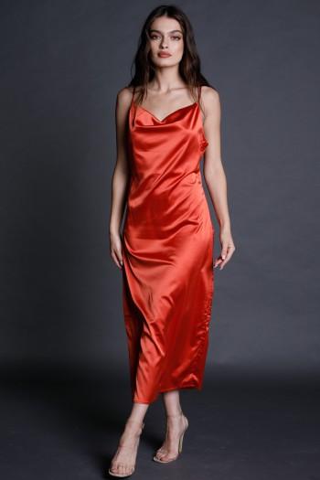 שמלת סאטן מידי אדומה STYLE