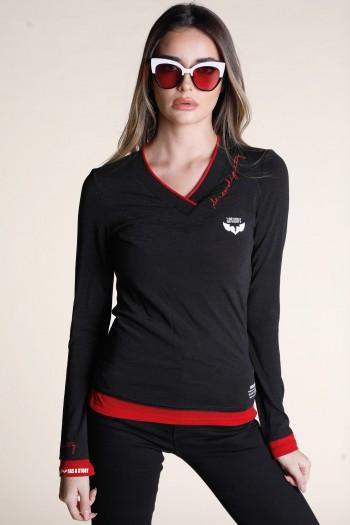 חולצה שחורה שרוול ארוך WARNING