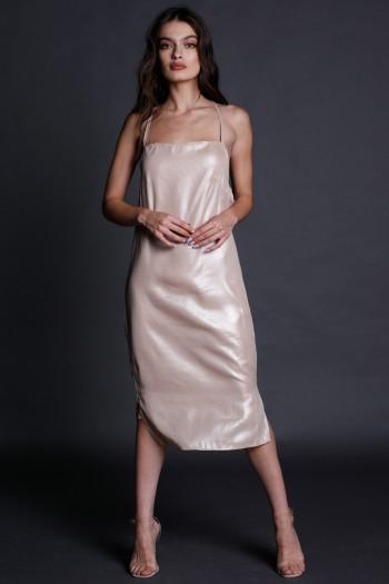 שמלת מידי בגוון בז' בוהק LOVE