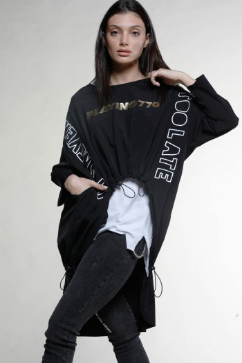 חולצת טוניקה כיווצים שכבות שחור-לבן PLAYING