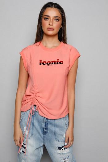 חולצה בגוון אפרסק ללא שרוול כיווץ ICONIC