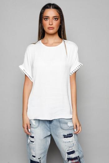חולצת סאטן לבנה קצרה NEXT LEVEL
