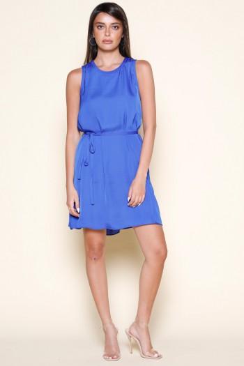 שמלת מיני כחולה ללא שרוול בד סאטן מט ELEGANT