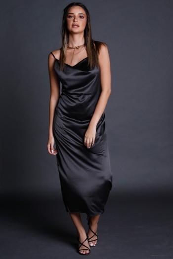 שמלת סאטן מידי שחורה STYLE