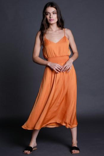 שמלת מידי בגוון כתום מותן אלסטי CHIC