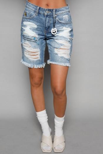 מכנסי ברמודה ג'ינס קרעים ADDICTION