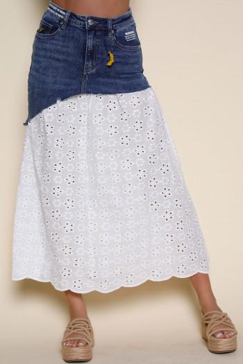 חצאית שילוב ג'ינס ובד תחרה לבן WARNING