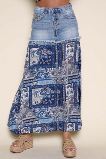 חצאית בסגנון בוהו שילוב ג'ינס ובנדנה בגוונים כחולים WARNING