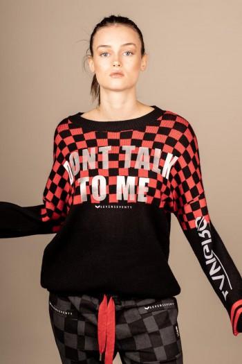 חולצת סריג משבצות אדום שחור DON'T