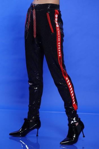 מכנסי ג'וגר פייטים שחורים מעוצבים STORY