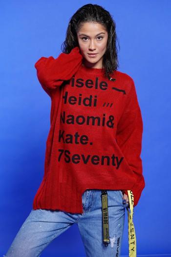 חולצת סריג אסימטרית אדומה GISELE