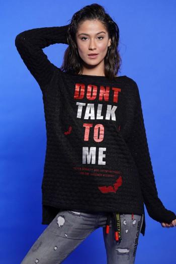 חולצת סריג שחורה הדפס אדום לבן TALK