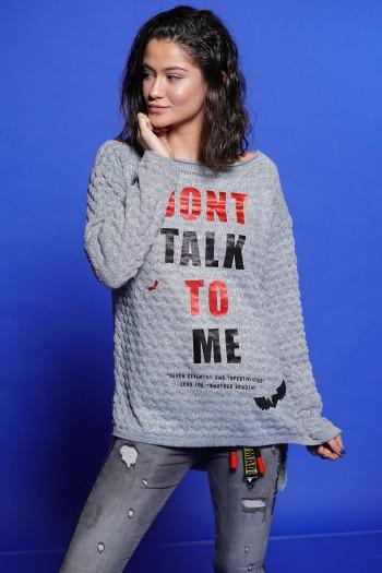 חולצת סריג אפורה הדפס אדום שחור TALK