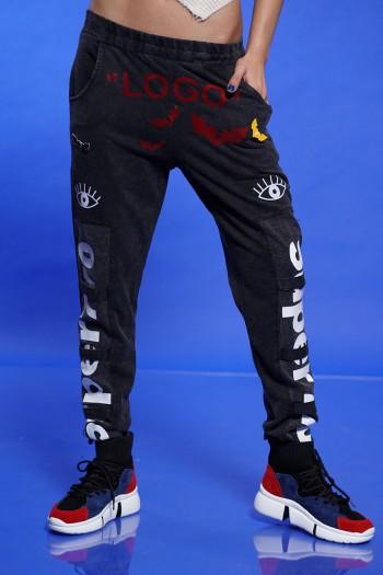 מכנסי ג'וגר שחורים LOGO