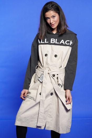שמלה בצבע בז' בשילוב אפור ALL BLACK