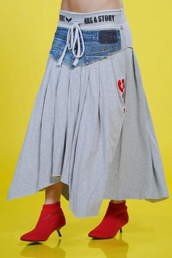 חצאית שילוב ג'ינס ובד פוטר STORY
