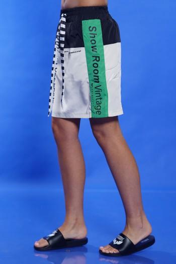 חצאית מיני-מידי בז' ירוק SHOW ROOM