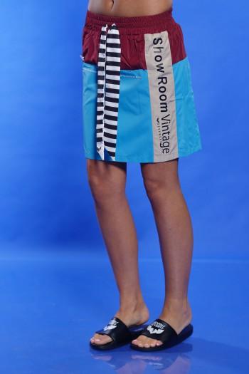 חצאית מיני-מידי בורדו תכלת SHOW ROOM