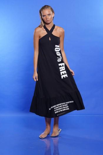 שמלה שחורה צווארון קולר FREE