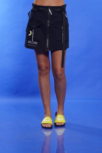 חצאית רצועות שחורה SOMETHING NEW